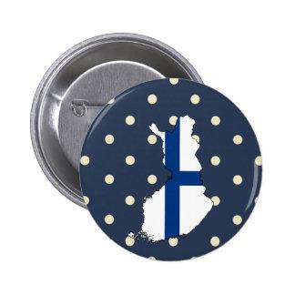 Finland flaggakarta på polka dots standard knapp rund 5.7 cm