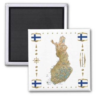 Finland karta + Flaggormagnet Kylskåpsnagnet