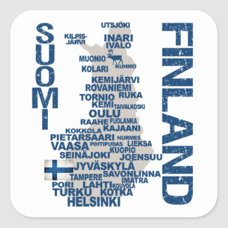 FINLAND KARTAklistermärkear Fyrkantigt Klistermärke