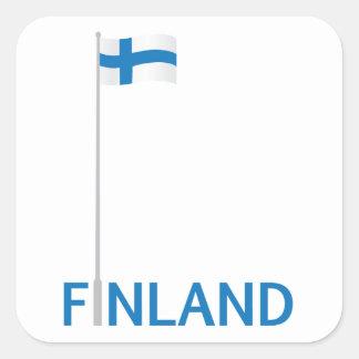 Finland och finlandssvensk flagga fyrkantigt klistermärke