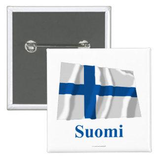 Finland som vinkar flagga med namn i finska knappar med nål