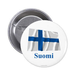 Finland som vinkar flagga med namn i finska standard knapp rund 5.7 cm
