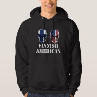 Finlandssvensk amerikanska flaggandöskallar tröja med luva