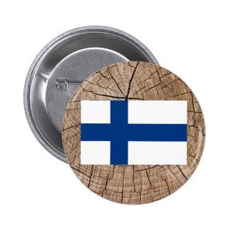 Finlandssvensk flagga på trädskäll standard knapp rund 5.7 cm