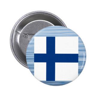 Finlandssvensk flagga som flyter på vatten standard knapp rund 5.7 cm