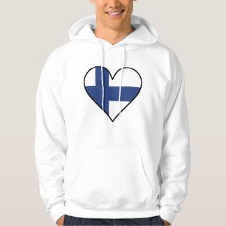 Finlandssvensk flaggahjärta sweatshirt med luva