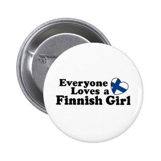 Finlandssvensk flicka standard knapp rund 5.7 cm