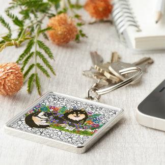 Finlandssvensk Lapphund keychain för BINDI Fyrkantig Silverfärgad Nyckelring