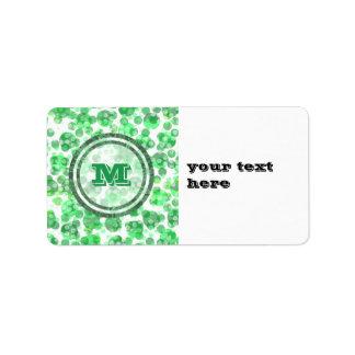 Finnig grön Monogram Adressetikett