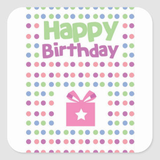 Finnigt kort för grattis på födelsedagen fyrkantigt klistermärke
