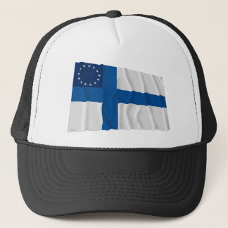 Finska-Amerikan som vinkar flagga Keps