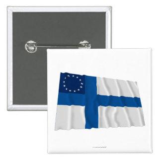 Finska-Amerikan som vinkar flagga Knappar Med Nål