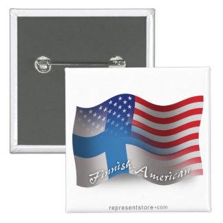 Finska-Amerikan som vinkar flagga Standard Kanpp Fyrkantig 5.1 Cm