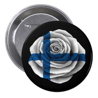 Finskaroflagga på svart mellanstor knapp rund 7.6 cm
