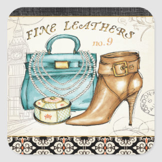 Fint läder hänger lös och skor fyrkantigt klistermärke