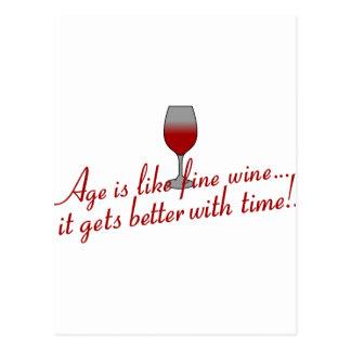 Fint vin för ålder vykort