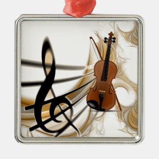 Fiolmusik Silverfärgad Fyrkantigt Julgransprydnad