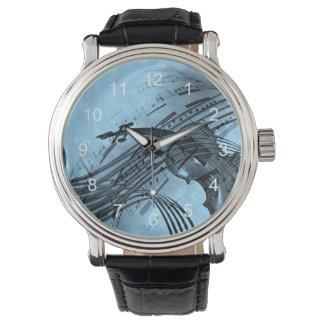 Fiolmusikdesign i ljust - blått armbandsur