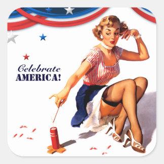Fira Amerika. 4th av Juli Fyrkantigt Klistermärke