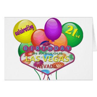 fira det 21st FÖDELSEDAGLAS VEGAS KORTET Hälsningskort
