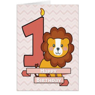 Fira en första födelsedag med gulligt lejont hälsningskort