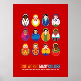 Fira kultur världen för mångfald en många färga print