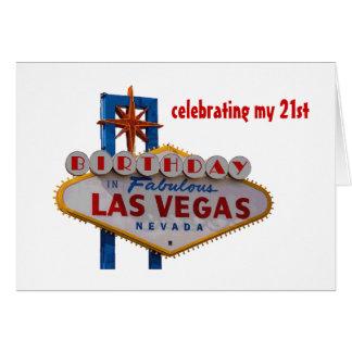 Fira mitt 21st födelsedagLas Vegas kort Hälsningskort