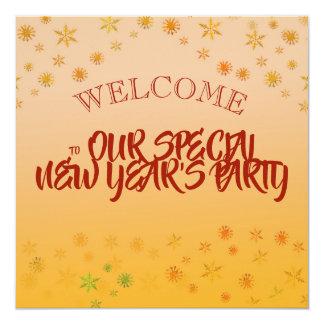 Fira partyinbjudan för det nya året fyrkantigt 13,3 cm inbjudningskort