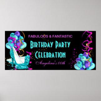 Firande 2 för födelsedagsfest för KRICKASHOCK ROSA Poster
