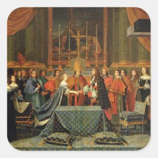 Firande av giftermål av Louis XIV Fyrkantigt Klistermärke