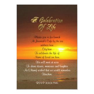 Firande av livinbjudansolnedgången 12,7 x 17,8 cm inbjudningskort