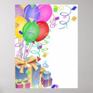 Firande med färgrika ballonger och presenter Il Poster