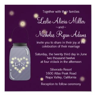 Fireflies i inbjudan för bröllop för