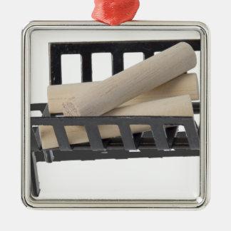 FireplaceGrillAndLogs040515.png Silverfärgad Fyrkantigt Julgransprydnad