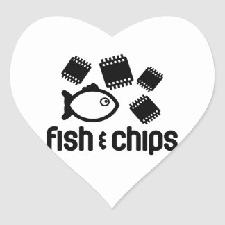 Fisk & chiper hjärtformat klistermärke