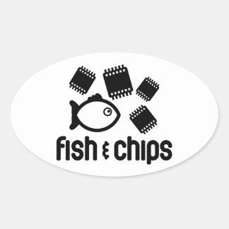 Fisk & chiper ovalt klistermärke