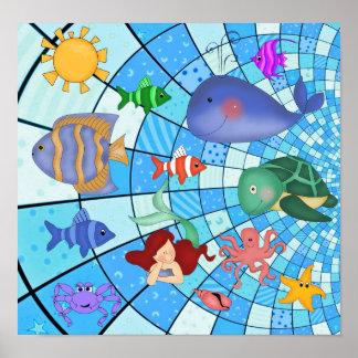 Fisk för sjöjungfru för liv för hav för affischung