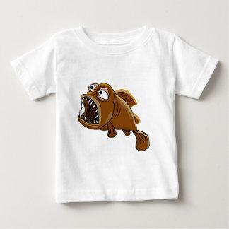 fisk för vit- och brunttecknadpiranha t-shirts