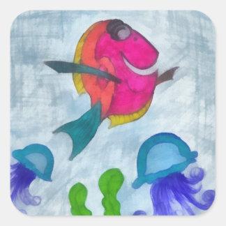 Fisk Fyrkantigt Klistermärke