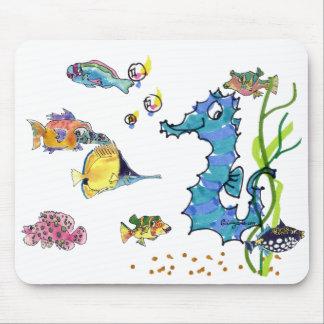 Fisk Mousepads för tecknad för tecknadSeahorse gul Musmatta