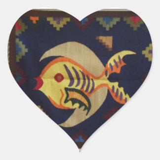 Fisk- och måneklistermärke hjärtformat klistermärke