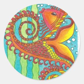 fisk runt klistermärke