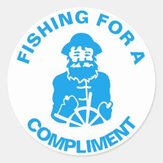 Fiska för en komplimang runt klistermärke