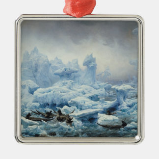 Fiska för valross i det arktiska hav, 1841 julgransprydnad metall