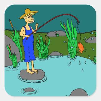 fiska fyrkantigt klistermärke