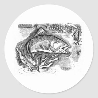 Fiska Runt Klistermärke
