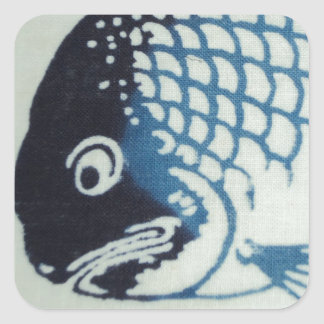 Fiskansikte - japansk fisk fyrkantigt klistermärke