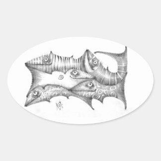 Fiskar Ovalt Klistermärke