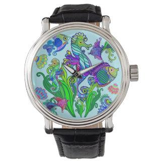Fiskar & SeaHorses för marin- liv exotiska Armbandsur
