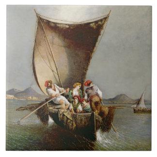 Fiskare familj (olja på kanfas) kakel